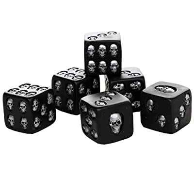 Pacific Giftware Decorative Black Skull Dice of Death 1.5 Inches Each Set of 6: Toys & Games