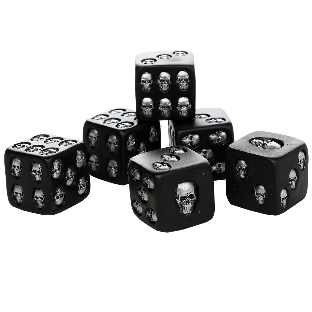 Pacific Giftware Decorative Black Skull Dice of Death 1.5 Inches Each Set of 6