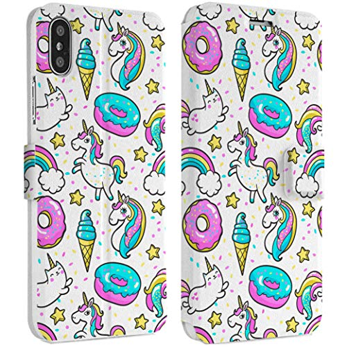 (Wonder Wild Donuts Unicorn IPhone Wallet Case X/Xs Xs Max Xr Case 7/8 Plus 6/6s Plus Card Holder Accessories Smart Flip Clear Design Protection Cover Cute Creatures Animals Cookies Rainbow Bright)