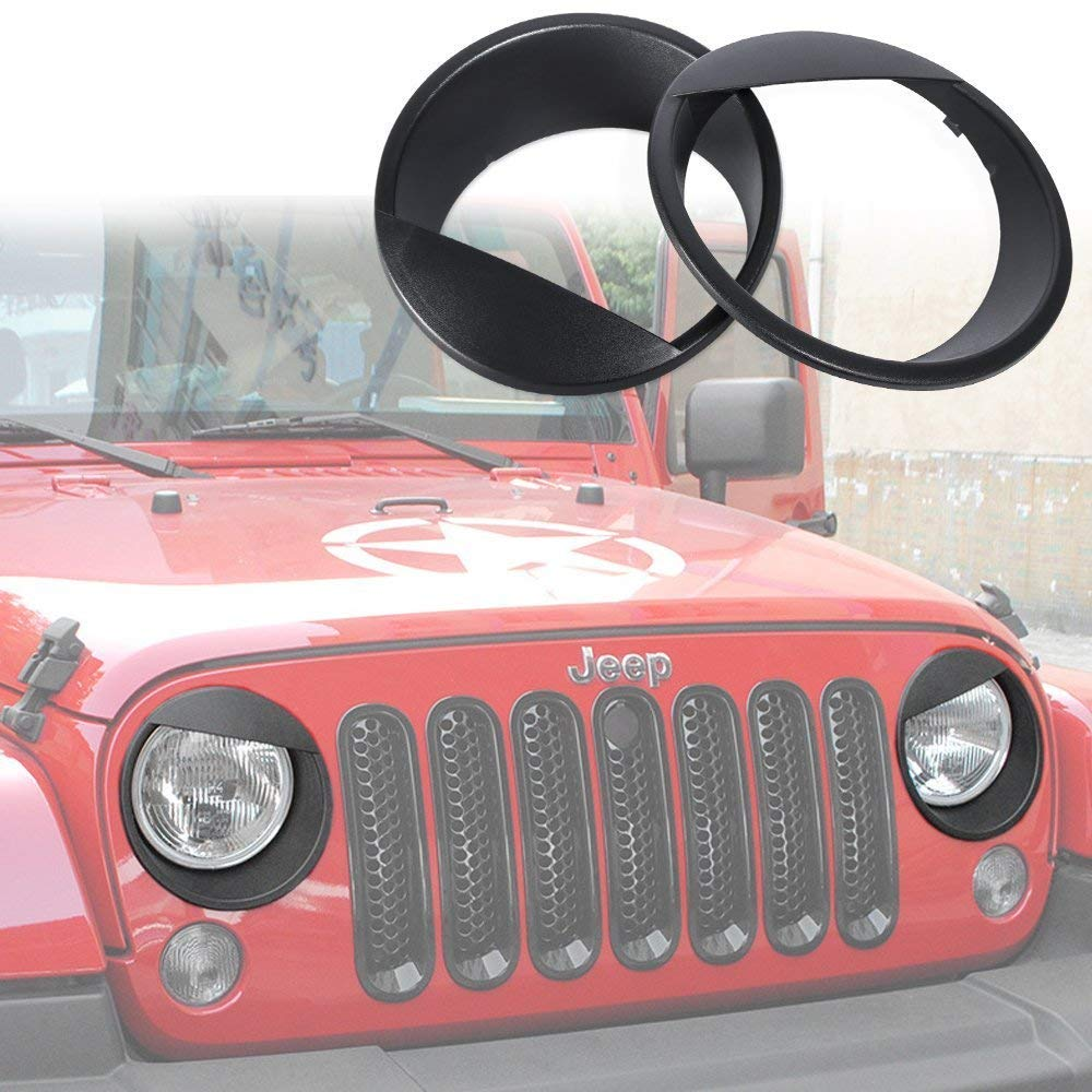 Srechee Headlight Trim Cover Angry Bird Bezels Clip-in for 2007-2018 Jeep Wrangler & Wrangler Unlimited JK - Pair, Black