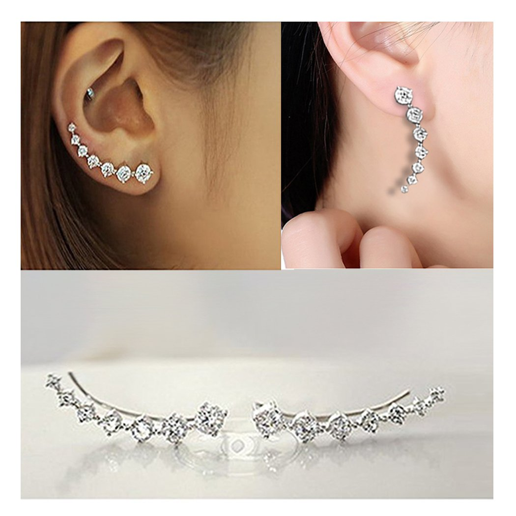 Sterling Silver Sweep up Ear Pin Crawler Cuff Wrap Climber Earrings with 7 CZ Stones (White)