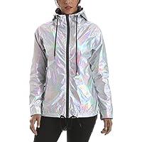 RoseLily Waterproof Trench Rain Jacket Women Hooded Lightweight Metallic Windbreaker Anorak Raincoat
