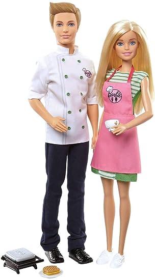 best loved latest sale retailer Barbie et Ken Coffret Cuisiniers, poupées avec tenues de chef et tablier,  accessoires de cuisine et grille-pain, jouet pour enfant, FHP64
