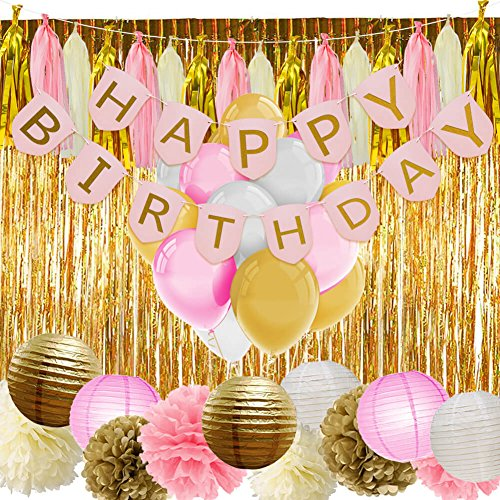 13th Banners Birthday (PAXCOO Pink and Gold Birthday Decorations with Birthday Banner Balloons Tissue Flowers Paper Lanterns Fringe Curtain for Baby Shower Girls 1st Party)