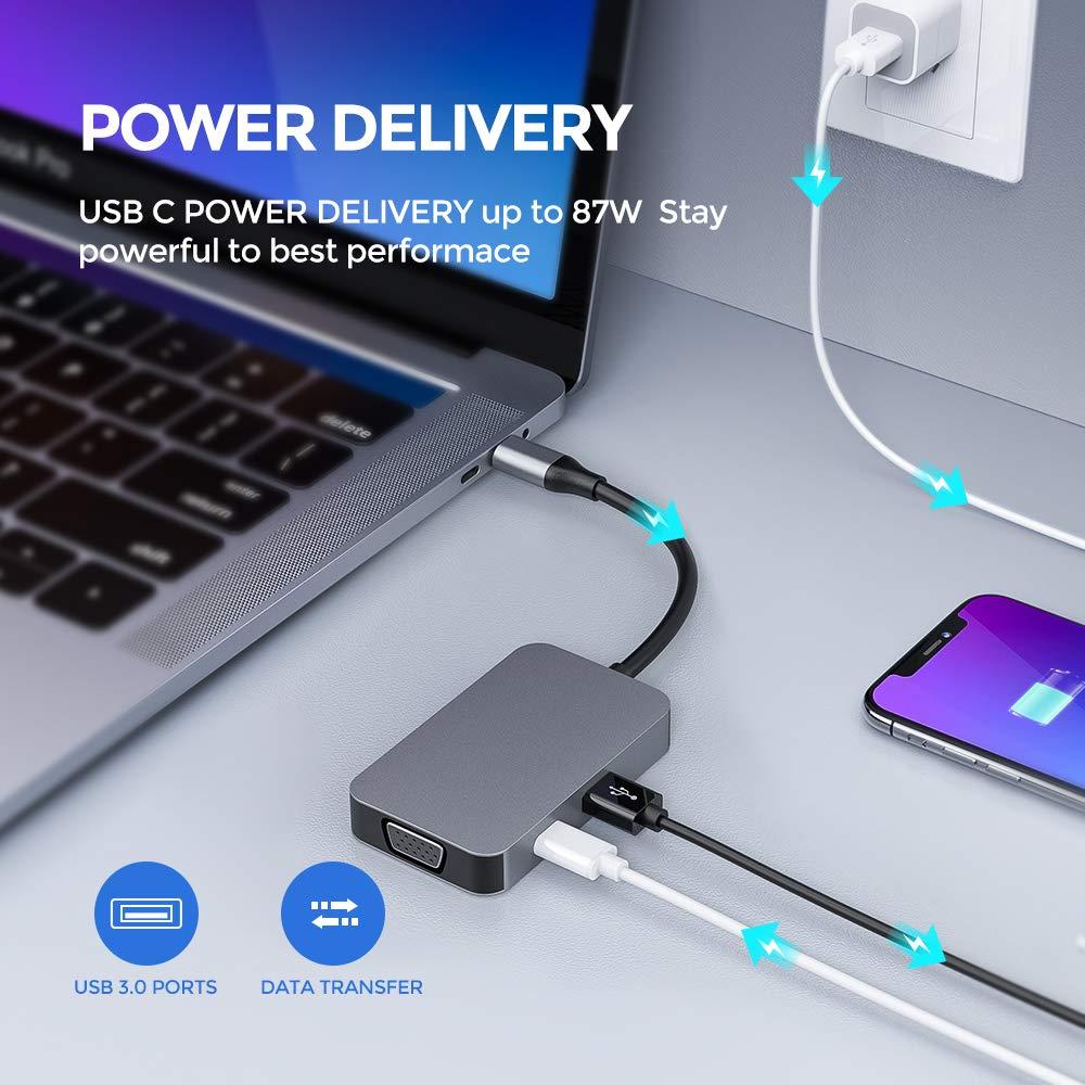 USB 3.0 adaptador de aluminio compatible con MacBook Pro 2017//2018 y m/ás dispositivos USB-C 1080P VGA Hub USB C 4K HDMI USB-C Power Delivery conector de audio adaptador tipo Hub 5 en 1
