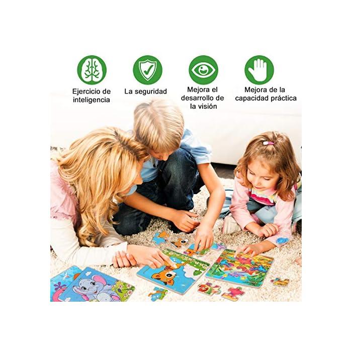61nf5B2BitL 【Incluyendo】Rompecabezas infantiles con Tigre, Elefante, Ciervo Sika, Ballena, Mono y Dinosaurio 6 rompecabezas (9 cada uno). Cada rompecabezas mide 5.9 * 5.9 pulgadas y es adecuado para pequeños agarres de las manos; es fácil de transportar y adecuado para viajar. Los colores brillantes y los lindos diseños de animales atraen a sus hijos a jugar, lo que facilita que los niños aprendan y recuerden. 【Calidad y Seguridad】Nuestros Wooden Jigsaw Puzzles están hechos de materiales ecológicos, no tóxicos, resistentes y duraderos. Todas las esquinas han sido meticulosamente diseñadas, sin esquinas afiladas y esquinas redondeadas, lo que es seguro para su hijo. Buen toque Cada rompecabezas tiene un marco de madera que ayuda a mantener las piezas en su lugar. 【Aprendar mientras Jugar】¡A los niños les encantan los rompecabezas! Son muy interesantes, inspiradores y emocionantes, ¡aprenderán mientras juegan! No solo proporciona diversión para los niños, sino que también los ayuda a practicar la resolución de problemas y el razonamiento espacial a medida que completan el rompecabezas.
