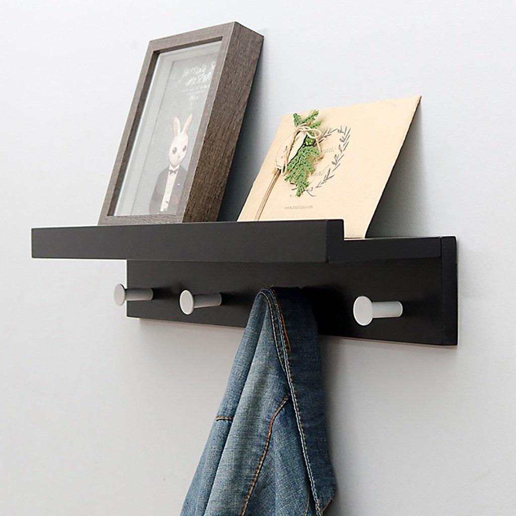 ZZRYMJ Coat Rack Garderobenhaken, Lagerung Massivholz einfache Wand schwarz 2/3/4/5 Haken (größe : 35.5cm)