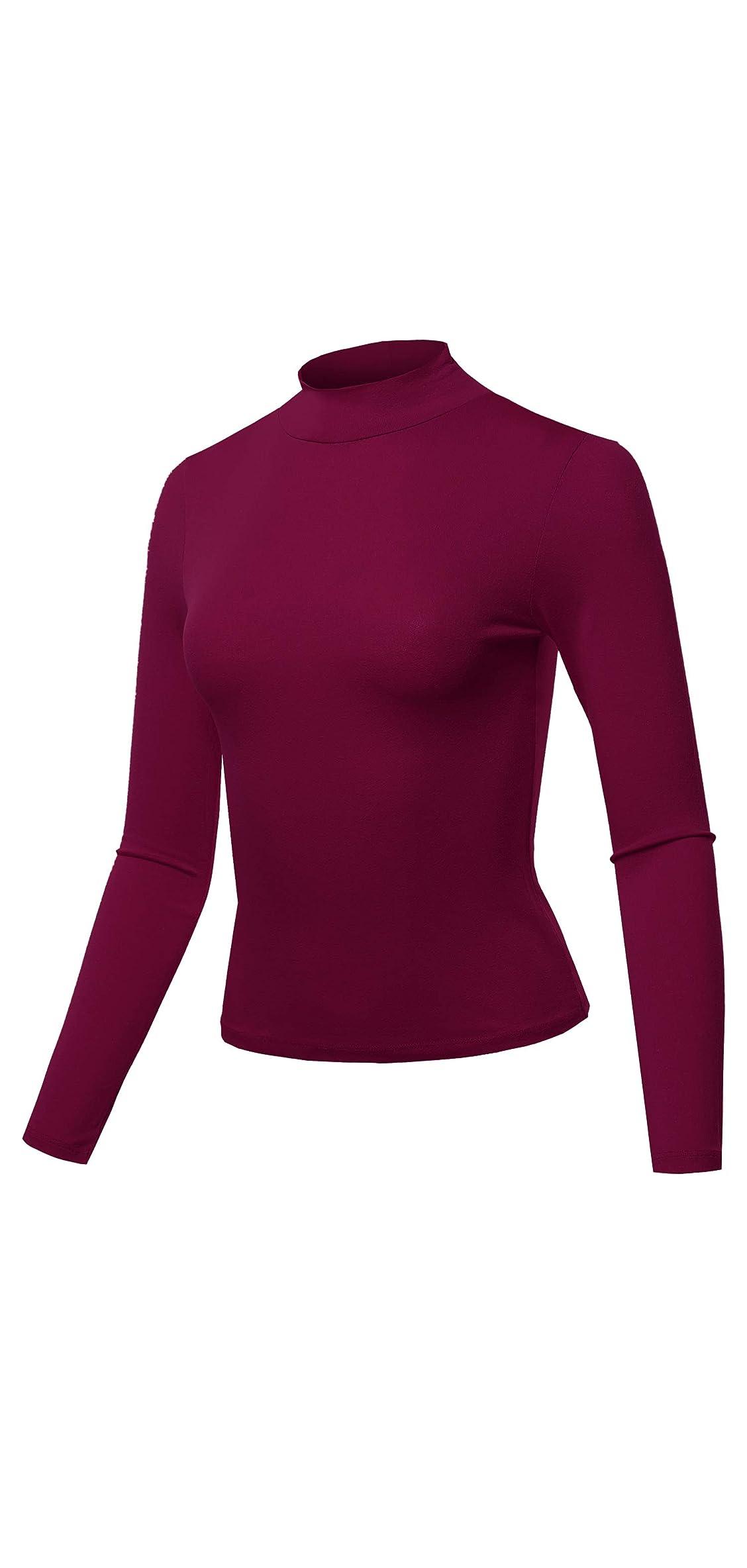 Women's Solid Lightweight Long Sleeve Mock Neck