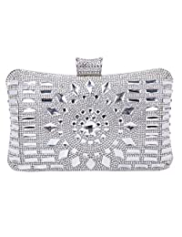 Tanpell Women's Rhinestone Four Ring Knuckle Evening Purse Cocktail Clutch Bag Rose (Silver)