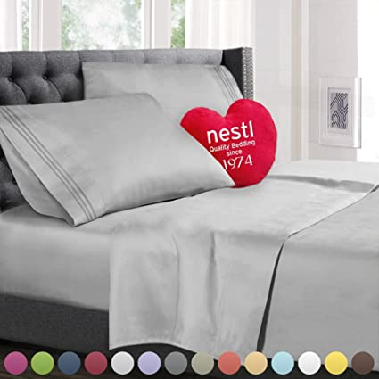 Queen Size Bed Sheets Set Silver, Highest Quality Bedding Sheets Set On  Amazon, 4