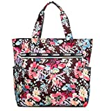 Ibeliver Nylon Large Lightweight Tote Bag Shoulder Bag for Gym Hiking Picnic Travel Beach Waterproof Tote Bags (Gorgeous FLower)
