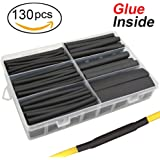 "130 pcs 3:1 Dual Wall Adhesive Heat Shrink Tubing kit, 6 Sizes(DIA): 1/2"", 3/8"", 1/4"", 3/16"", 1/8"", 3/32"", Best Cable Sleeve Tube Assortment with Storage Case for DIY by MILAPEAK (Black)"