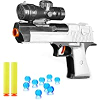 Yuanzu Toy Gun Shooting Gun Toy Foam Bullets and Water Bombs Dual-Purpose Pistol with 2 PCS EVA Soft Bombs and 10000 PCS Crystal Bullets - White