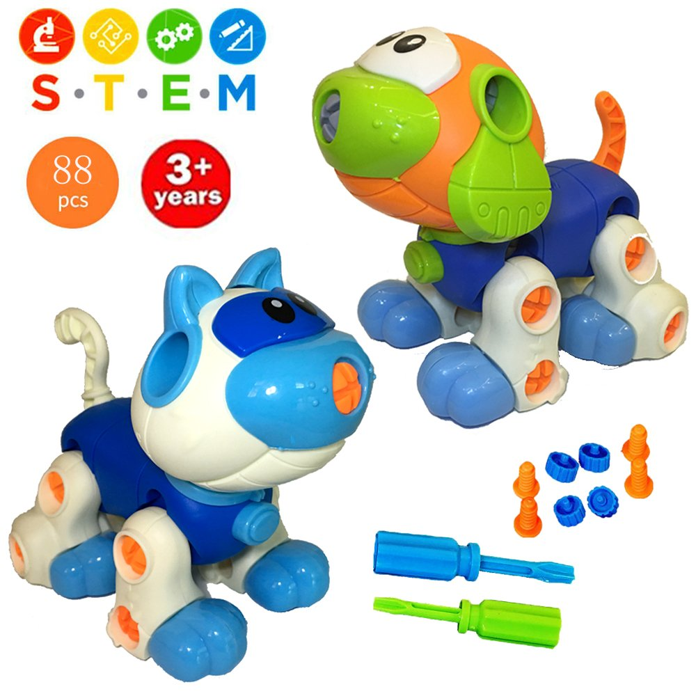 Take Apart Creative Building Toys Set with Screwdriver, Interlocking Animal Model Builds Problem Solving Motor Skill, STEM Educational Construction Kit for Toddlers Boys Girls Age 3 4 5 6 Years Old WenToyce