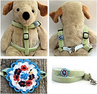 "product image for Diva-Dog 'Dori' Custom 5/8"" Wide Dog Velvet Step-in Harness with Plain or Engraved Buckle, Matching Leash Available - Teacup, XS/S"