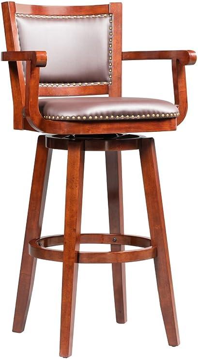 Boraam Broadmoor Swivel Extra Tall Barstool 50 Inch Cherry Furniture Decor