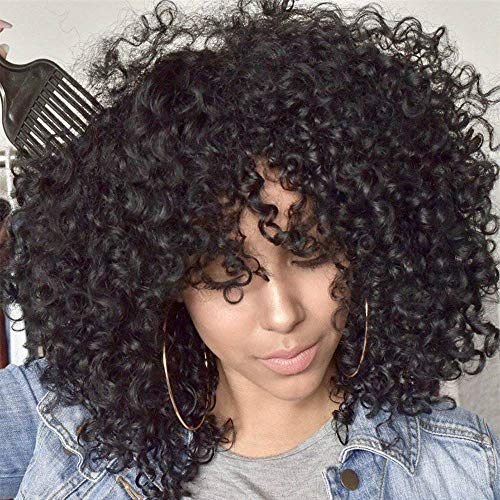 Black Curly Wig 18 inch Curly Wave Wig with Bangs Synthetic Daily Wig for Women Natural Look Same as Real Hair