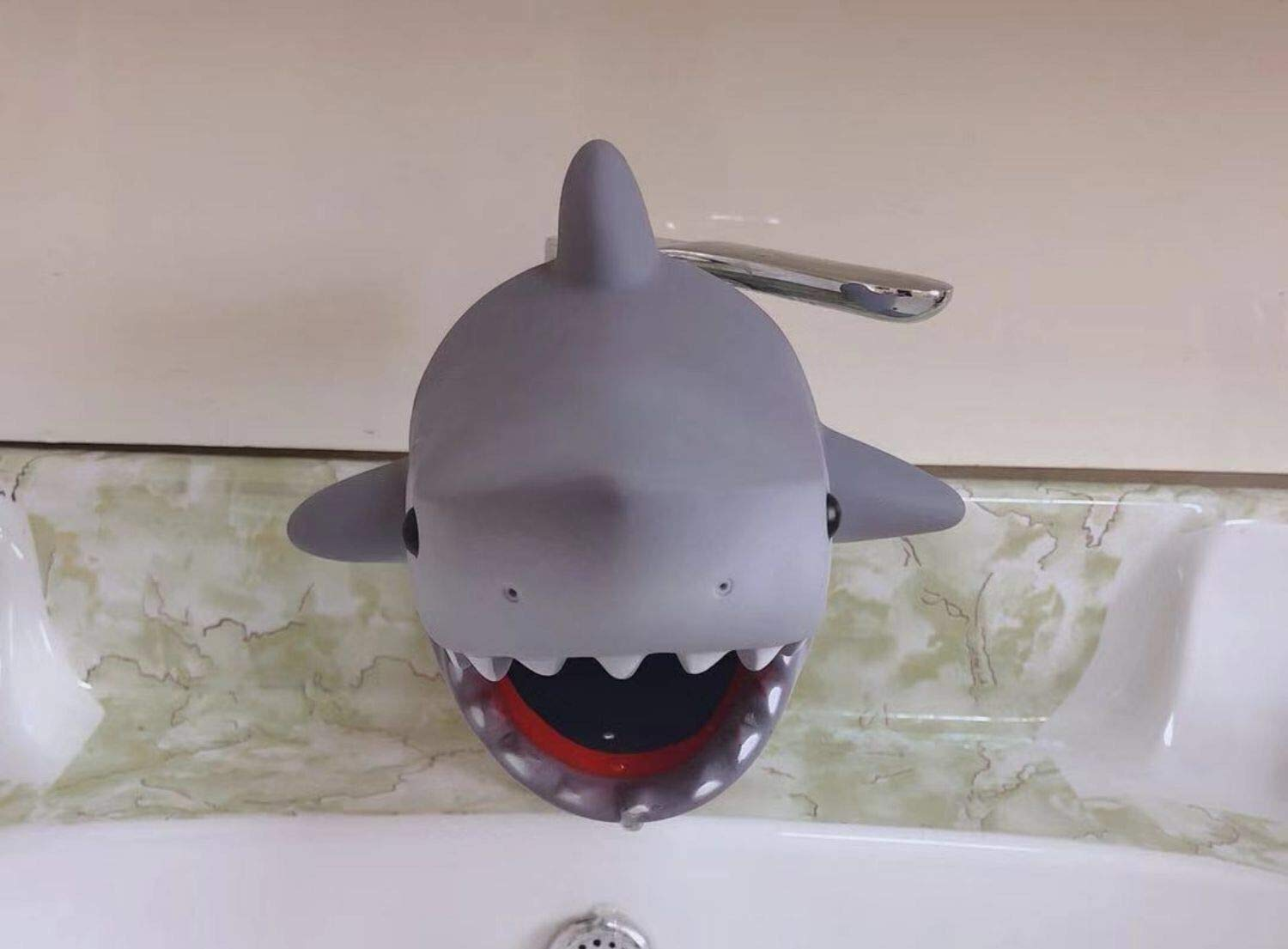 Jian Jing Bathroom Sink Spout Cover - Grey Shark Bathroom Faucet Cover for Kid - Faucet Extender Protector for Baby - Silicone Soft Spout Cover Baby - Child Bathroom Cute Accessories