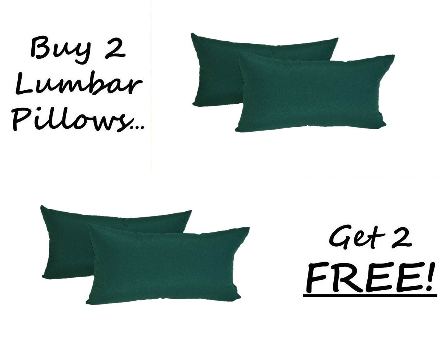 Set of 2 - Indoor / Outdoor Decorative Lumbar / Rectangle Pillows + 2 Free - Solid Hunter / Forest Green