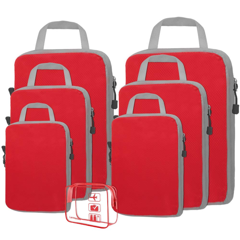 Lermende 6+1 Set Compression Packing Cubes Extensible Storage Various Sizes Travel Luggage Bags Organizers (L+M+S+XS Red) by Lermende