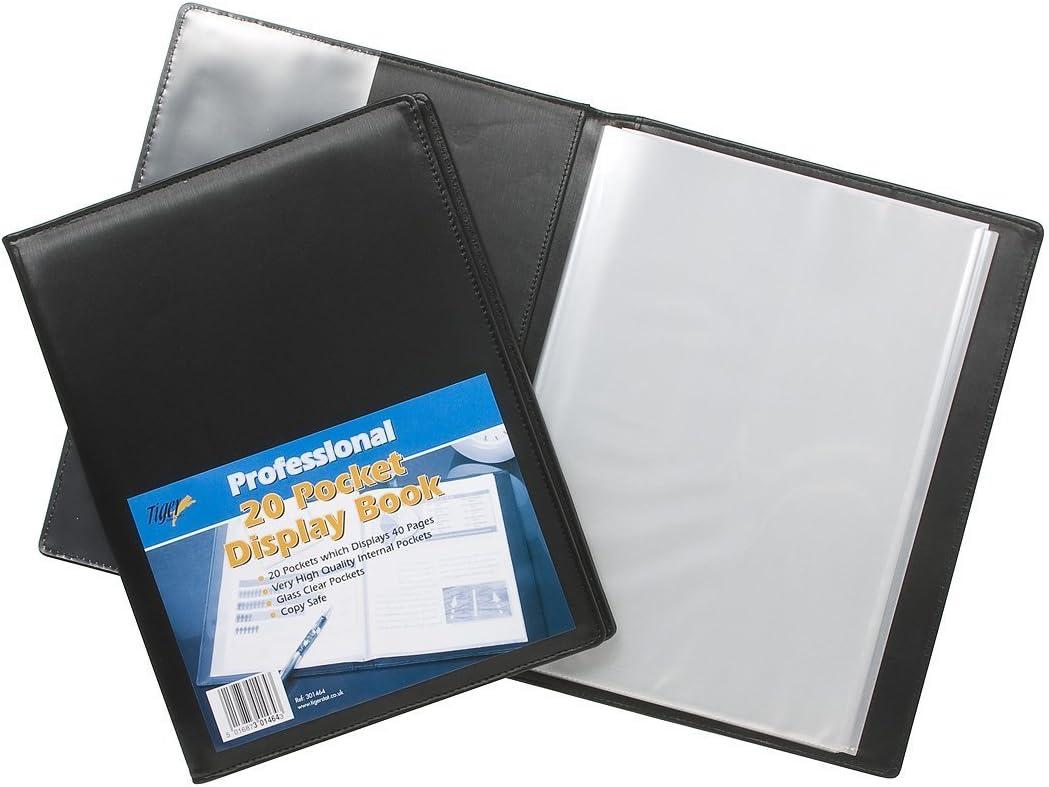 1 A3 BLACK DISPLAY BOOK 20 POCKETS PORTFOLIO