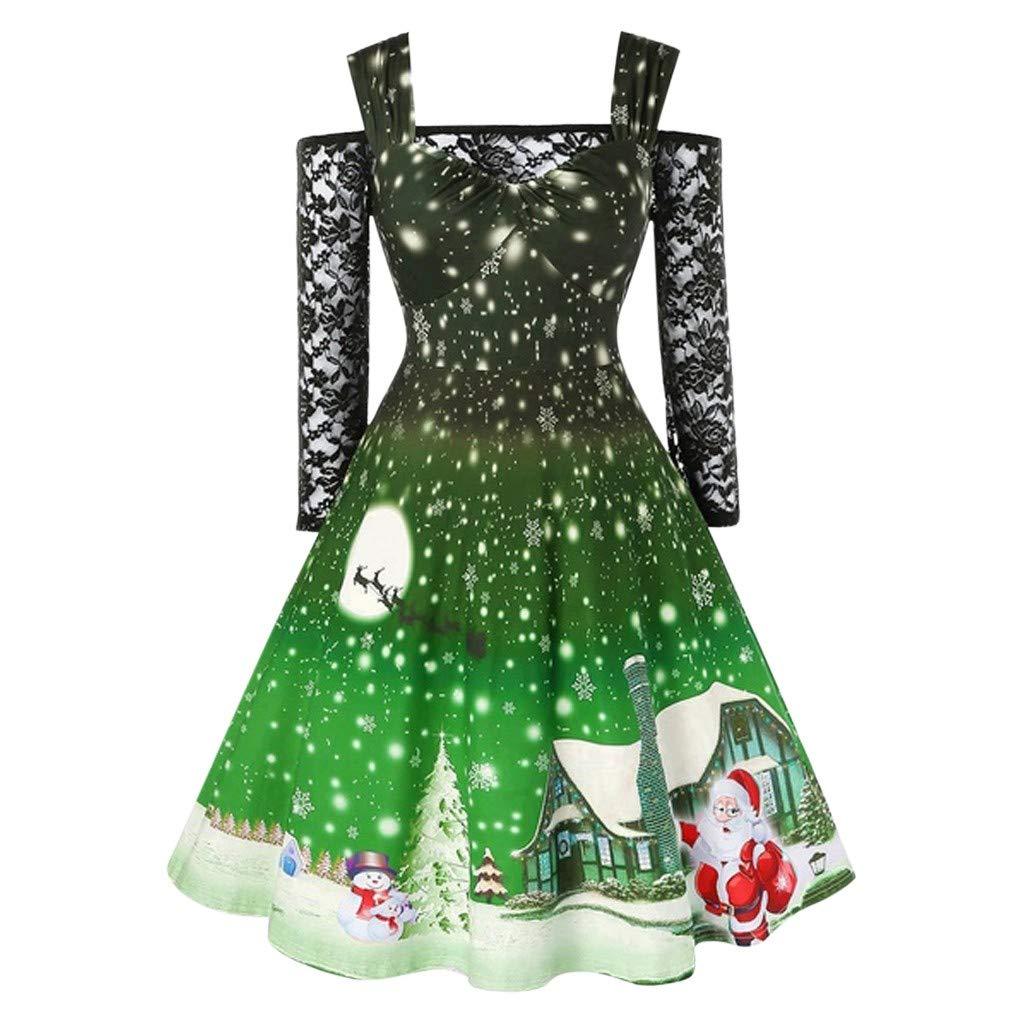SUCES Damen Kleider Weihnachten Hepburn Abendkleider Langarm Rockabilly Cocktailkleid Weihnachtskleid Christmas Druck Swing Kleid A-Linie Festliches Weihnachtskleid