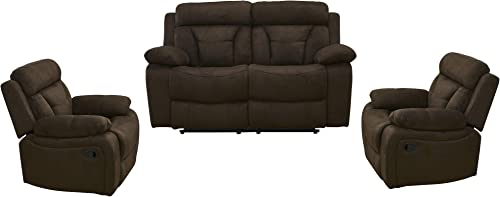 Betsy Furniture 3PC Microfiber Fabric Recliner Set Living Room Set in Brown, Sofa Loveseat Chair Pillow Top Backrest and Armrests 8005 3, Living Room Set 2 1 1
