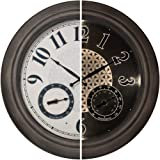 """PresenTime & Co 18"""" Indoor/Outdoor Luminous Wall Clock with Thermometer & Hygrometer, Quartz Movement-Grey Oak Finish…"""