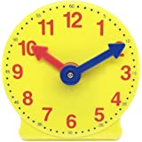 hand2mind Learning Clock, Learn to Tell Time with Geared Practice Clock, Plastic, 4 Inches