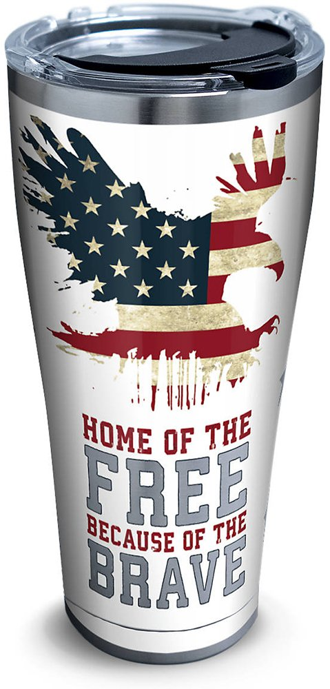 Tervis 1261376 Home of the Free Because of the Brave Stainless Steel Tumbler with Clear and Black Hammer Lid 30oz, Silver