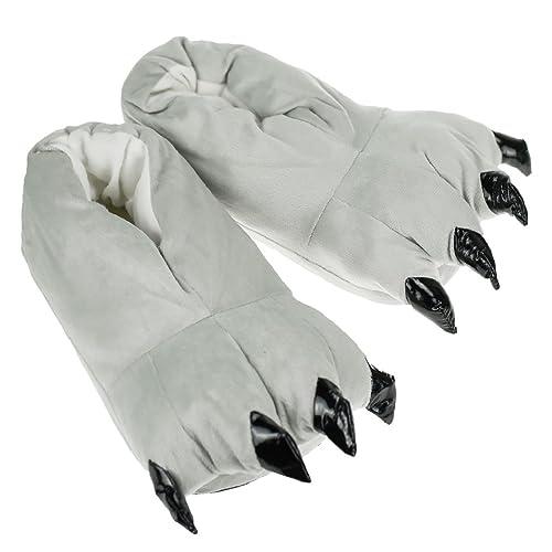 Heekpek® Zapatos Zapatillas Garras de Animal Traje de Disfraz para Adulto Unisex Carnaval Halloween de Terciopelo Felpa Zapatos Invierno (L for EU 41-45, Gris)