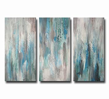 Artland Hand Painted Sea Of Clarity 3 Piece Gallery Wrapped Canvas Art Set