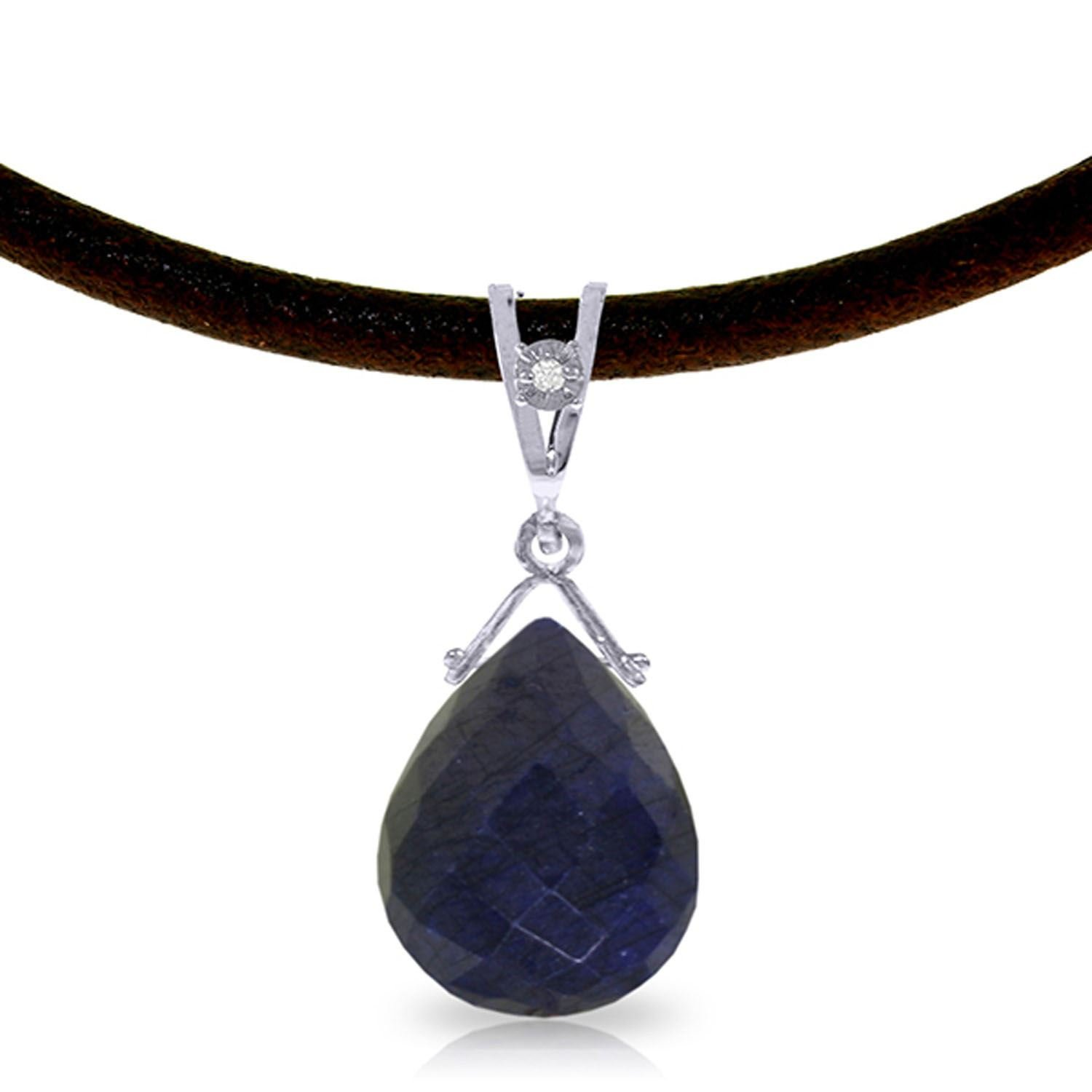 ALARRI 7.81 Carat 14K Solid White Gold Love Sappho Sapphire Diamond Necklace with 24 Inch Chain Length