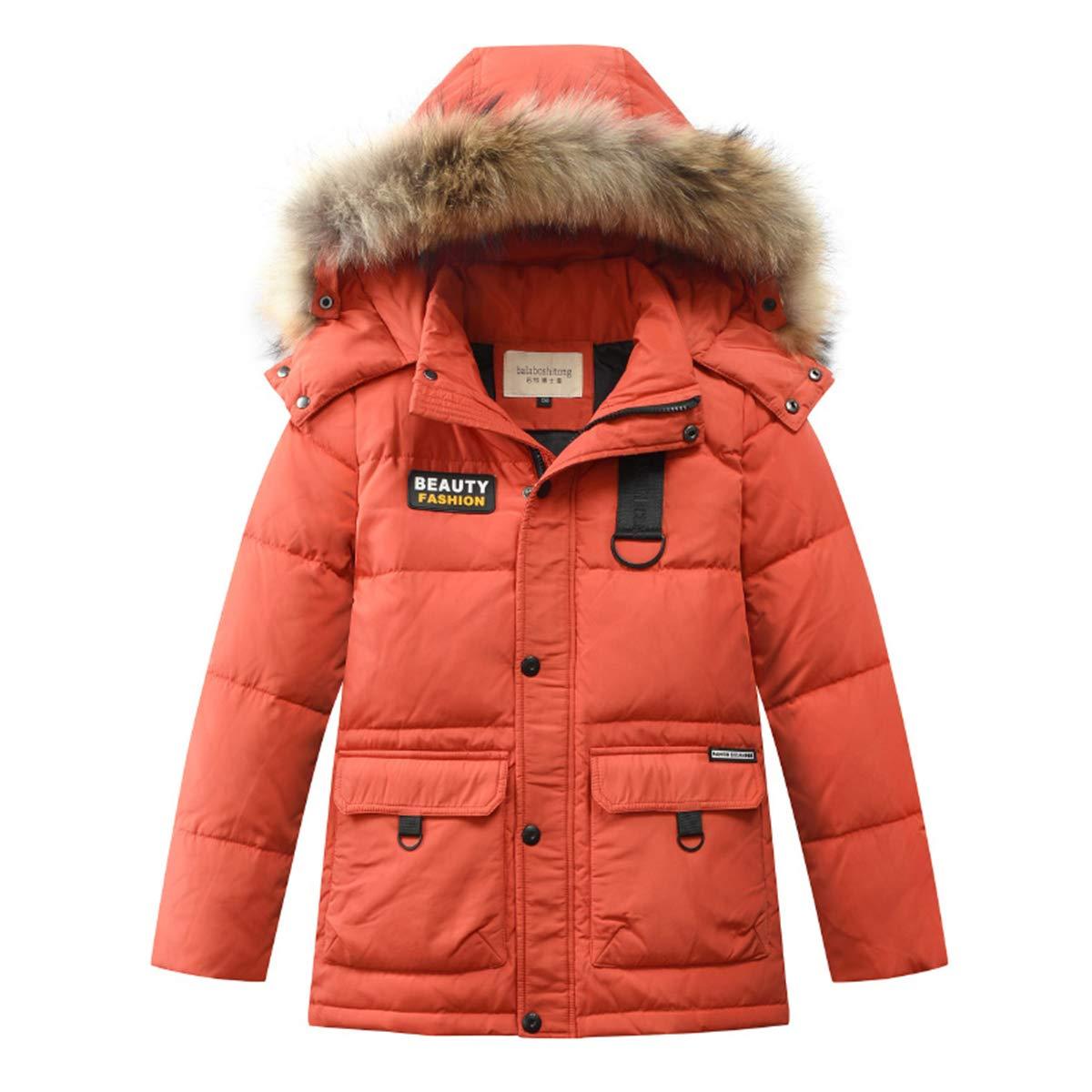 Boys Kids Winter Hooded Down Coat Puffer Jacket for Big Boys Mid-Long (Orange, 4)