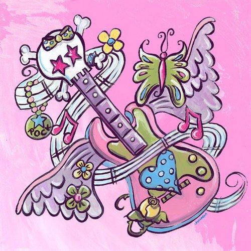 (Oopsy Daisy Canvas Wall Art Tattoo Guitar Pink by Jones Segarra, 14 by)