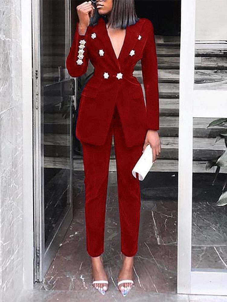 ORANDESIGNE Completo da Donna in Due Pezzi Basic Slim Fit Business Blazer Elegante Regular Fit Ufficio Cappotto OL Giacca Cardigan