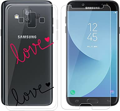 AQGG Funda para Samsung Galaxy J7 Duo, Transparent TPU + Vidrio ...