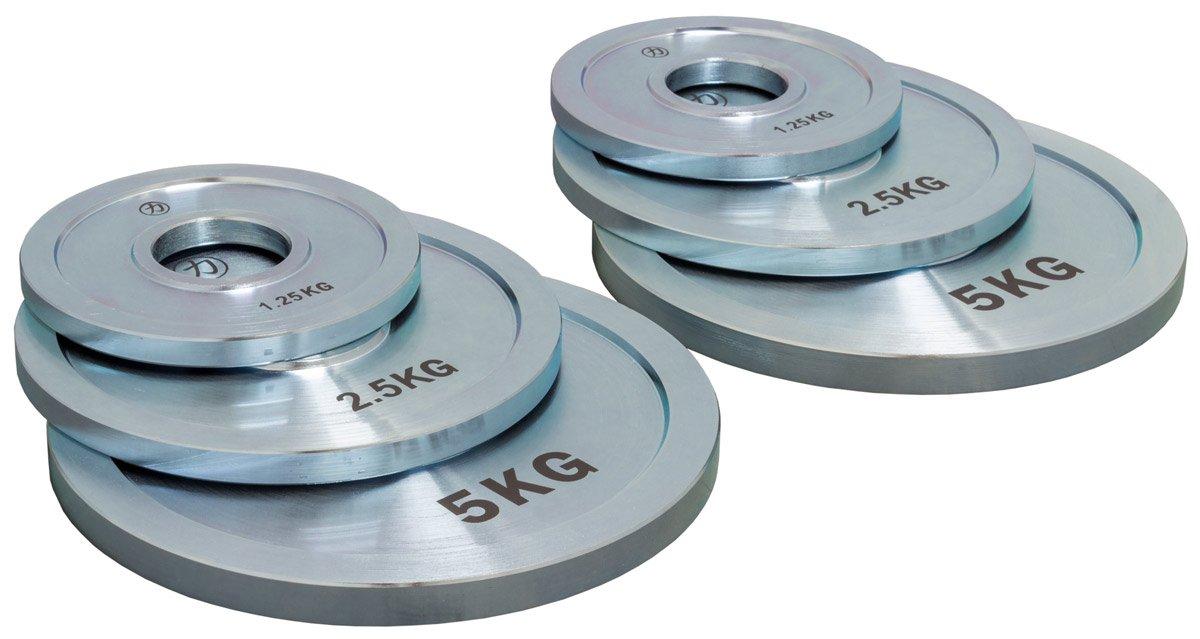 Strengthshop Hantelscheibenset - Stahl, 2 x 5 kg, 2 x 2.5 kg, 2 x 1.25 kg/Lochdurchmesser 50 mm