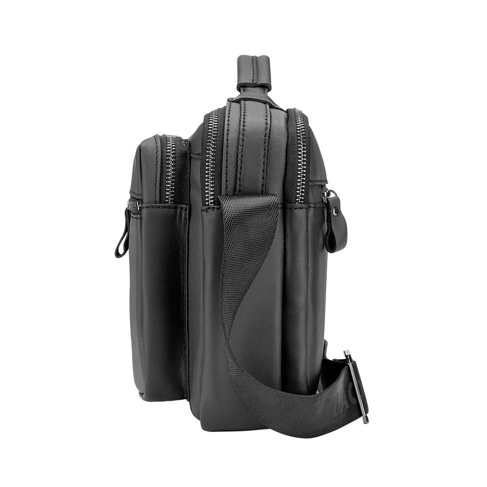 Genda 2Archer Men Small Leather Vintage Messenger Bag Black