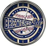 MLB Milwaukee Brewers Official Chrome Clock, Multicolor, One Size