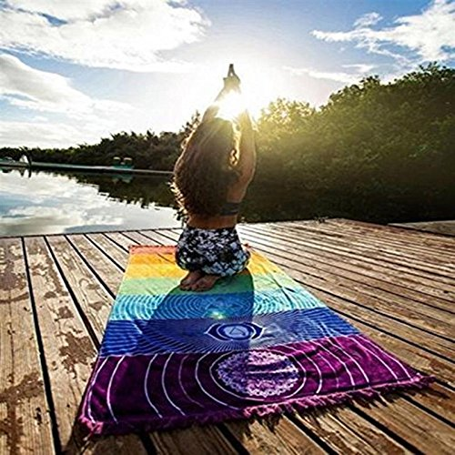 Katoot@ Rainbow Tapestry Stripes 7 Chakra Beach Towel Yoga Mat Sunscreen Shawl Hippy Boho Gypsy Bohemia India Mandala Blanket 15070cm