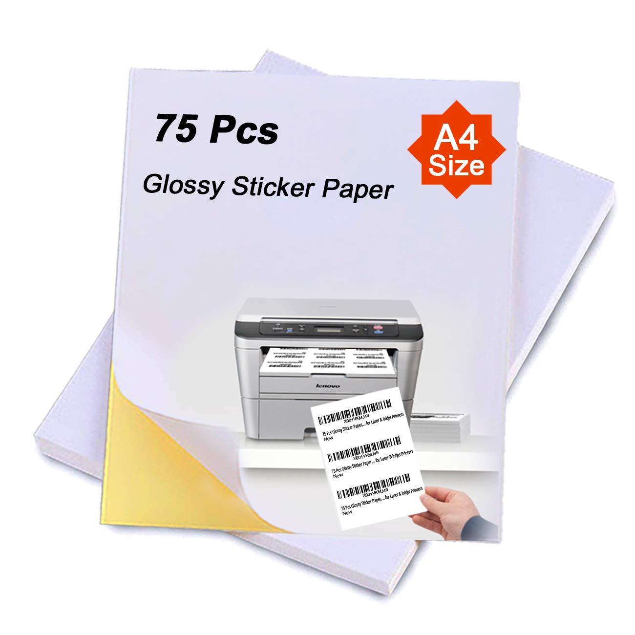 75 Pcs A4 Glossy Sticker Paper, Self Adhesive Sticker Label Paper for  Printer