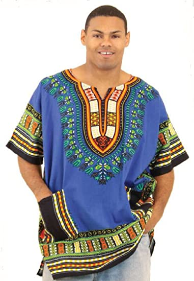 35a1639c689 African Inspired Fashions King-Sized Traditional Print Unisex Dashiki Top -  Up to 68