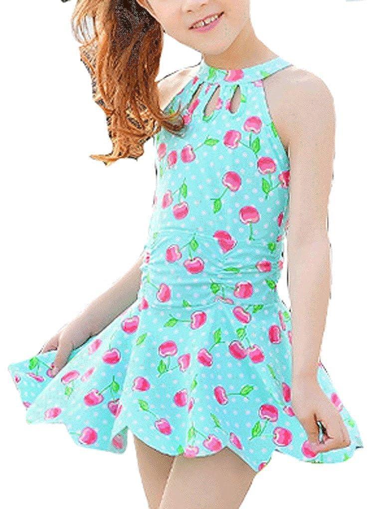 Pointss Girls' Flower One Piece Swimsuit Ruffle Beachwear Bathing Suit Swimwear