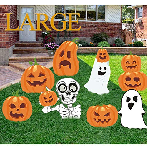 Kyerivs Halloween Yard Stake Signs Decoration Outdoor Family Friendly Pumpkins Skeleton Ghost Lawn Yard Party Decor Trick or Treat Halloween Props Extra Large