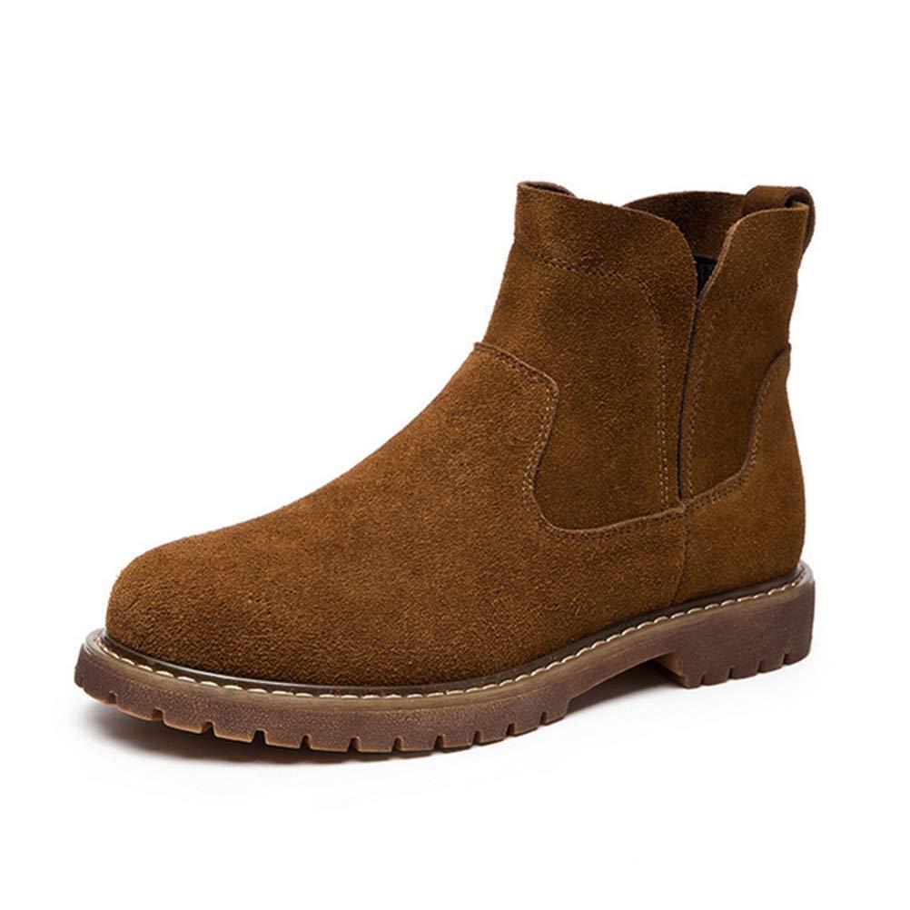 Nubuk-Leder High Heels Damen Stiefel Wasserdicht Frosted Frosted Frosted Herbst Und Winter Flache Stiefel b4988b