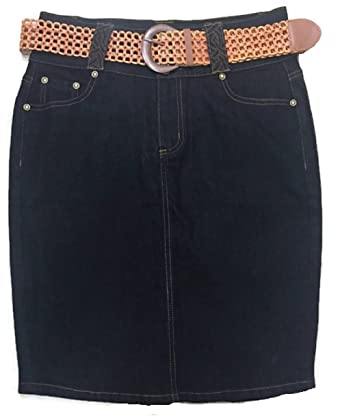 fcf772997ea MissNoFuze Women s Casual Curvy Plus Size Belted Pencil Denim Jean Skirt  6-16 23