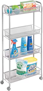 mDesign Portable Rolling Laundry Utility Cart Organizer Trolley with Easy-Glide Wheels and 4 Multipurpose Heavy-Duty Metal Mesh Basket Shelves - Narrow Shelf - Durable Steel Frame - Silver