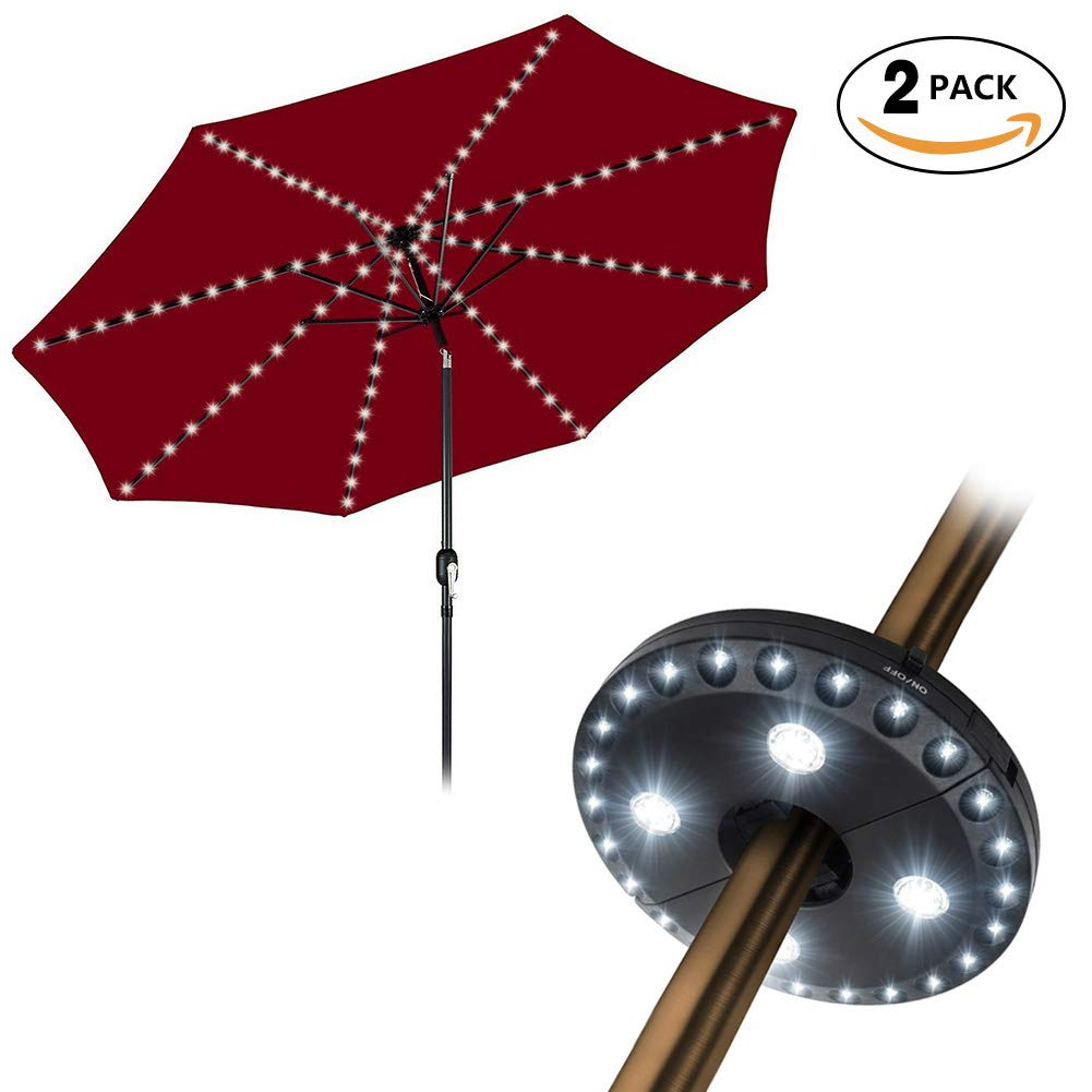 Rbaysale Patio Umbrella Light Combo, 104 LED| 4.3Ft| 8 Lighting Mode Remote Control String Lights with 3 Brightness Modes Cordless 28 LED Lights(White) by Rbaysale