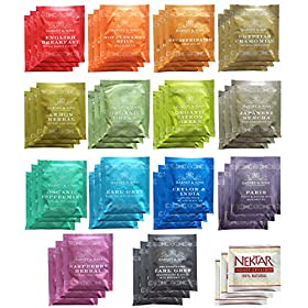 Harney & Sons Assorted Tea Bag Sampler 42 Count (14 Different Flavors – 3 Tea Bags of Each) With Honey Crystal Packs Great for Birthday, Hostess and Co-worker Gifts